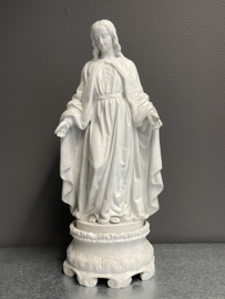 Maria beeld, Antiek, Biscuit porselein, 47 cm met losse voet verschillende beschadigingen (6)