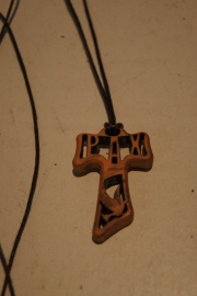 Tau kruis, olijfhout, Pax en duif aan koord502