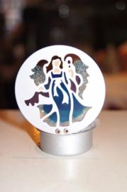 Waxinelichtje engel (als glas in lood) 7,5 cm (10)