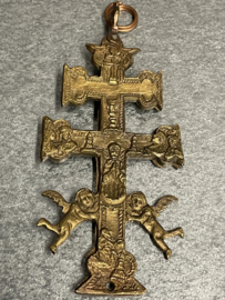 Antiek koperen Caravaca kruis,  15 x 6 cm (7)