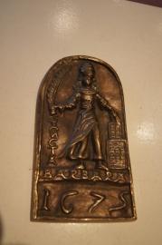 """Heilige Barbara, bronzen plaquette 20 x 11 cm """"1675"""""""