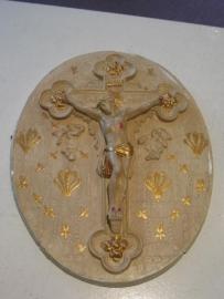 Relief Medaillon Crucifix 27 x 21 cm gips
