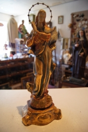 Maria beeld met bladgoud, 33 cm. ca. 1920 (4)