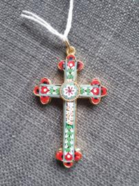 Millefiori kruis, 6 x4 cm, Italiaans ingelegd glas in koper kruis, Milaan