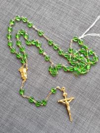 Rozenkrans, groene glaskraal, hartvorm 55 cm.