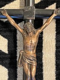 Ebben houten crucifix met koper 50 x 23 cm, antiek (8)