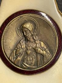 Plaquette Christus Heilig Hart, Marmer en Koper, 12 x 8 cm  (8)