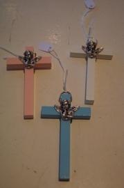 .Wiegenkruis, hout 9.5 x 5 cm blauw