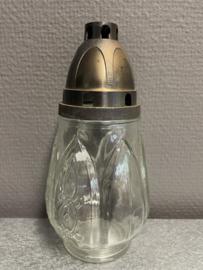 Graflicht glas, voor 3 dagen kaars, 18 cm. (2)