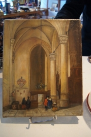 Olieverf op doek Kerkinterieur 19e eeuw J. Wentholt