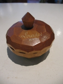 Hout souvenirs doosje Lourdes uit jaren `30