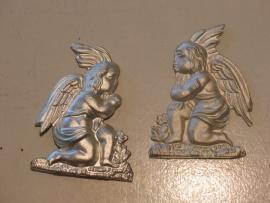 Ex-voto engelen stel zilver, 7 x 6 cm, 2 stuks