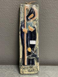 Benedictus van Nurcia, plaquette, 19 x 6 cm, aardewerk. (7)
