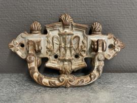 Antiek, gietijzer handvat, zandloper met vleugels, 21 x 13 cm (0)