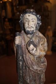 Judas Thaddeus, 46 cm, Goa houtsnijwerk 18e eeuw (5)