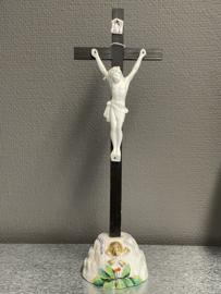 Antiek  Calvarieberg kruis, biscuit porselein, 35 cm, 1860 (1)