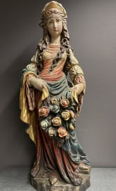 Elisabeth van Thuringen / Hongarije 78 cm, houtsnijwerk Tirol (r)