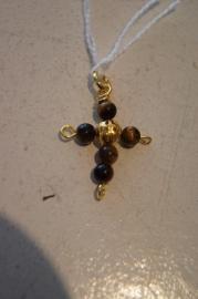 Half edelsteen kruisje (tijgeroog) 3 x 2 cm