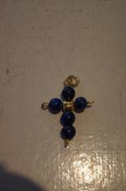 Kruisje Lapis Lazuli goudkleurig