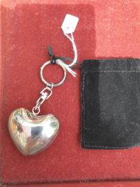 Sleutelhanger , zilverkleurig hart met twinkel geluid met etui 4.5 cm