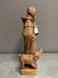 Antonius Abt met varken, gips, 24 cm, Schutterij Stamproy (8)