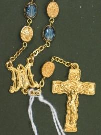 .Lourdes Tientje goudkleurig met blauw