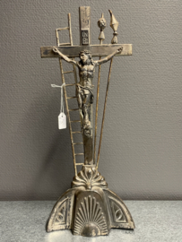 Passie kruis, metaal, antiek, 39 x 16 cm (8)