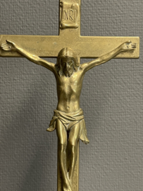 Staand kruis, crucifix, antiek, koper, 1900, 45 cm (8)