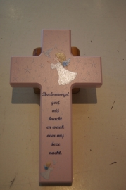 """Kinderkruis """"beschermengel"""" roze 20 x 12 cm hout (3)"""