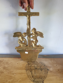 Wijwaterbakje koper met engelen, 31cm (8)