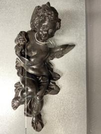 Engel, gips, ca. 1900, vleugel gerestaureerd. 30 cm (9)