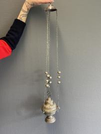 Antieke zilveren orthodoxe wierook brander met belletjes,  77 cm