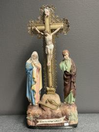 Calvarie kruis, Consummatum est, (Het is volbracht) 47 cm, gips / hout 1880  (7)