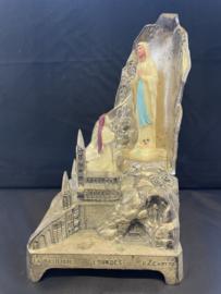 Maria van Lourdes en Bernadette, metaal souvenir, 1930 , muziekdoos,  21 cm