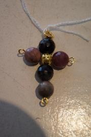Half edelsteen kruisje (toermalijn) 4,5 x 3 cm goud kleurig