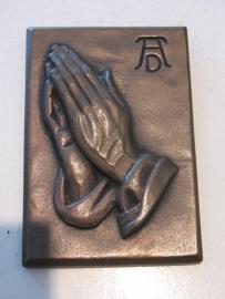 Antieke bronzen plaquette Biddende handen Albrecht Durer 19 x 13 cm