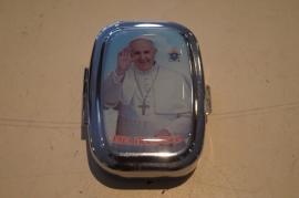 Pillen doosje Paus Franciscus 5 x 4 cm