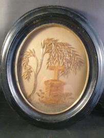 Haarwerk, lijst van Ebbenhout, 24x20cm, 19de eeuw (12)
