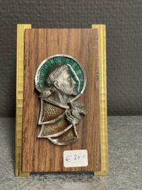 Franciscus van Asissi, standaard, hout met koper en emaille 12 x 7 cm (7)