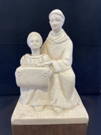 Antonius van Padua met knikneger, missie spaarpot, 26 cm, gips (3)