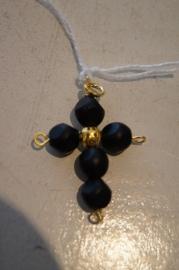 Half edelsteen kruisje (gitten/yet) 4,5 x 3 cm goud kleurig