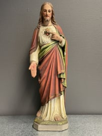 Jezus Heilige Hart beeld, gips, 53 cm, 1900 (10)