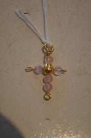 Half edelsteen kruisje (rozenkwarts) 3 x 2 cm