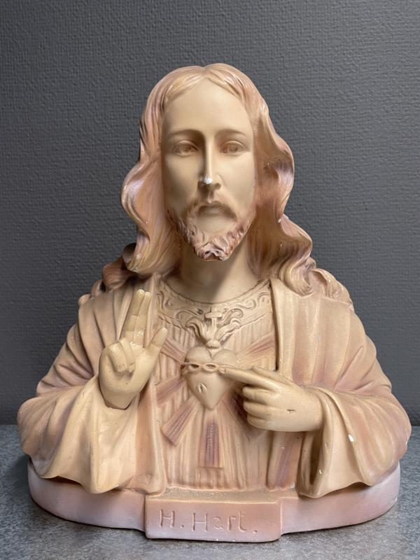 Jezus Heilig Hart, borstbeeld, terracotta, 31 x 31 cm, antiek (0)