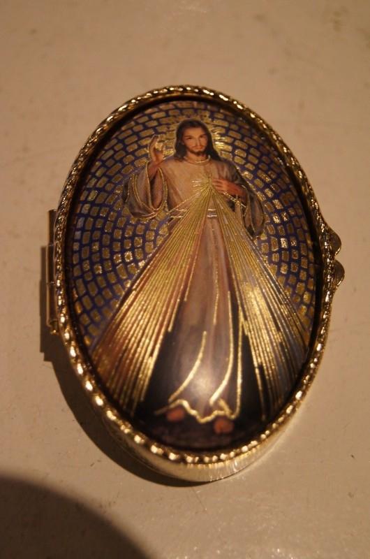 Rozenkrans doosje / pillen doosje Barmhartige Jezus 6.5 cm