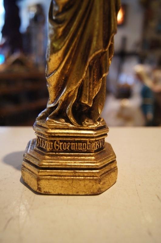 Maria OLV van Groeninghe / Kortrijk, antiek gipsen beeldje 22 cm hoog