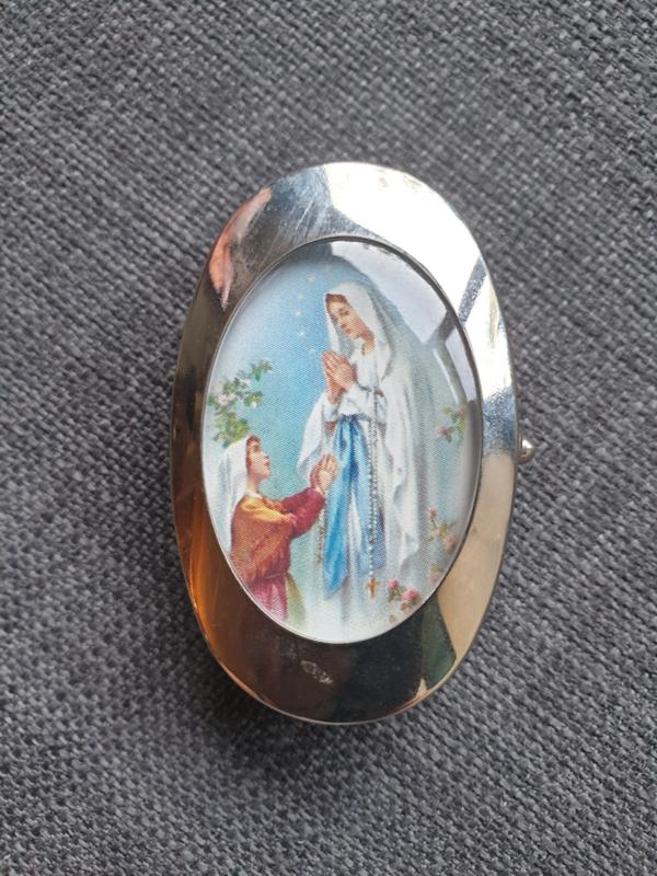Pillendoosje Maria OLV va Lourdes, 2 vakjes, 6 cm