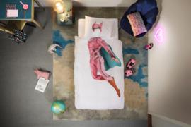 Snurk Superhero Pink dekbedovertrek