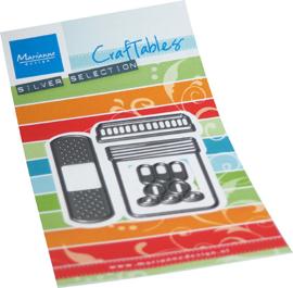 Craftables stencil Band aid & pills CR1547