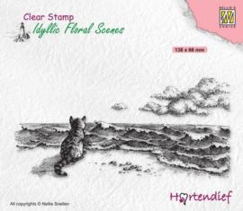 Nellie`s Choice Clearstamp - Idyllic Floral - Kat bij de zee IFS042